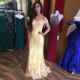 Yellow Lace Off The Shoulder Sheath Prom Dress, Formal Gown With Sheer Back