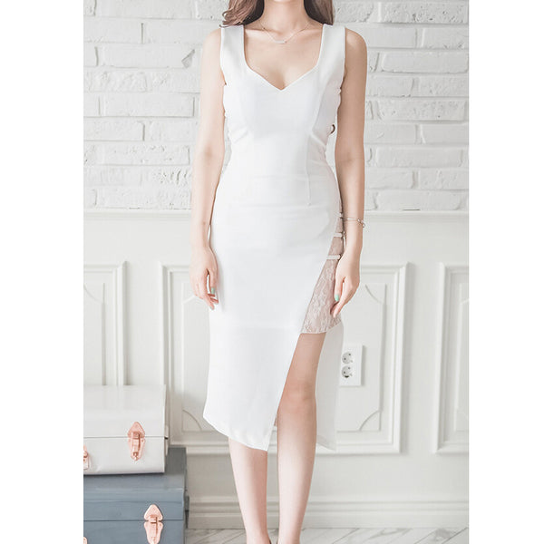 White Sheath Midi Dress For Summer Wear