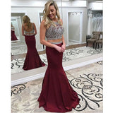 Burgundy Two Piece Prom Dress, Mermaid Formal Gown With Beaded Crop Top