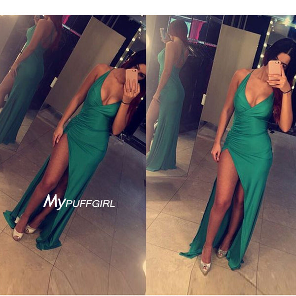 Green V Neck Jersey Cross Open Back Formal Gown With High Side Slit