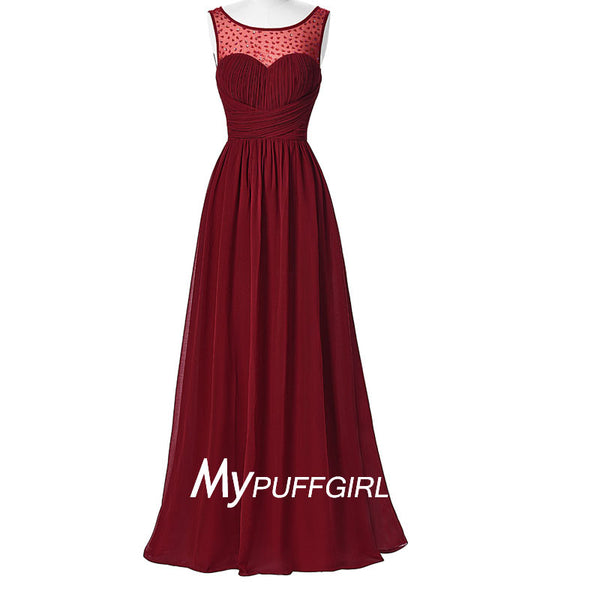 Burgundy Bateau Beaded Illusion Chiffon Formal Gown With Pleated Bodice