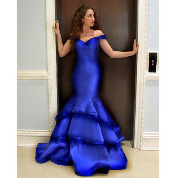 Royal Blue Off The Shoulder Prom Dress, Mermaid Formal Gown With Layered Skirt