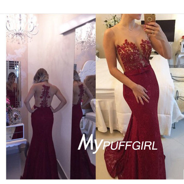 Burgundy Lace Illusion Mermaid Formal Gown With Lace Appliques Bodice ,Sheer Back