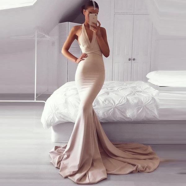 Light Champagne Mermaid Prom Dress,Backless Formal Gown With Cross Straps