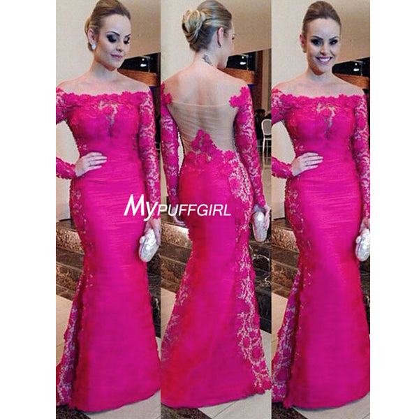 Fuchsia Off The Shoulder Taffeta Mermaid Formal Gown With Long Sleeves