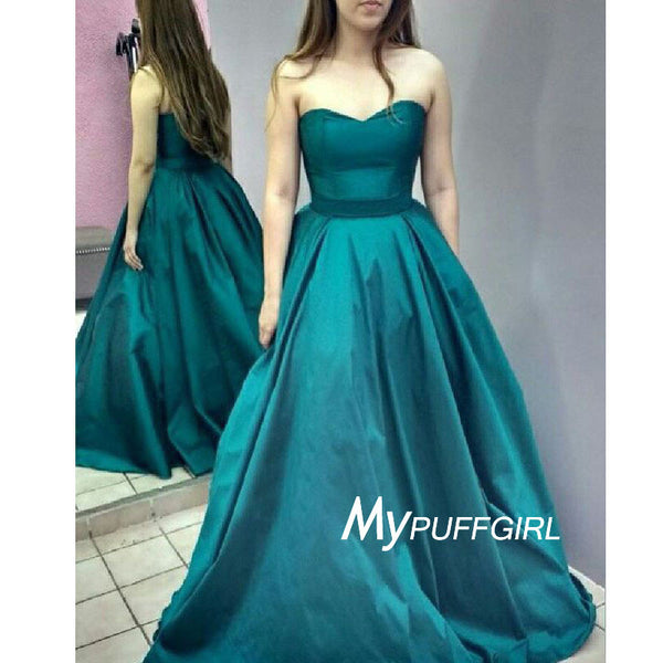 Jade Sweetheart A Line Satin Prom Dress, Formal Gown With Sweep Train