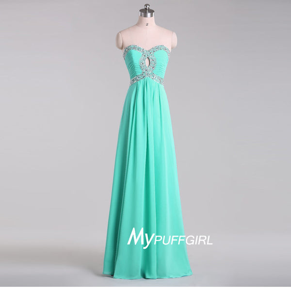 Mint Beaded Sweetheart Chiffon Long Prom Dress With Keyhole Bodice