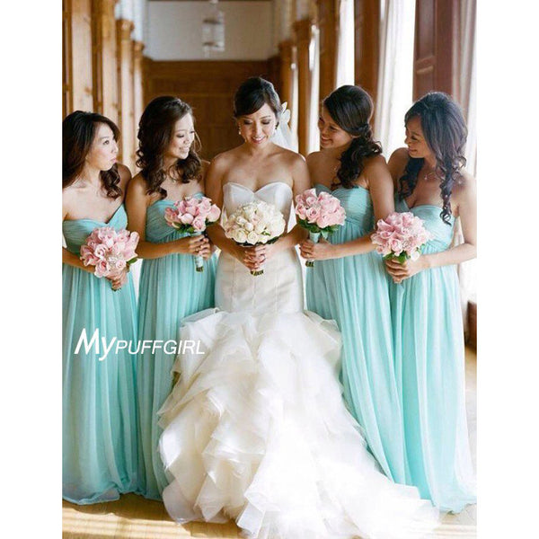 Mint Green Sweetheart Empire Floor Length Bridesmaid Dress