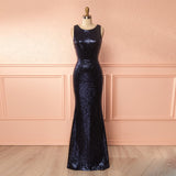 2018 Navy Blue Sequin Mermaid Prom Dress,Sleeveless Formal Gown With Open Back