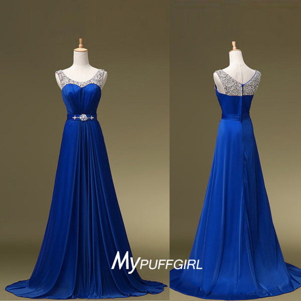 Beaded Scoop Sleeveless Long Chiffon Prom Dress With Shirred Skirt