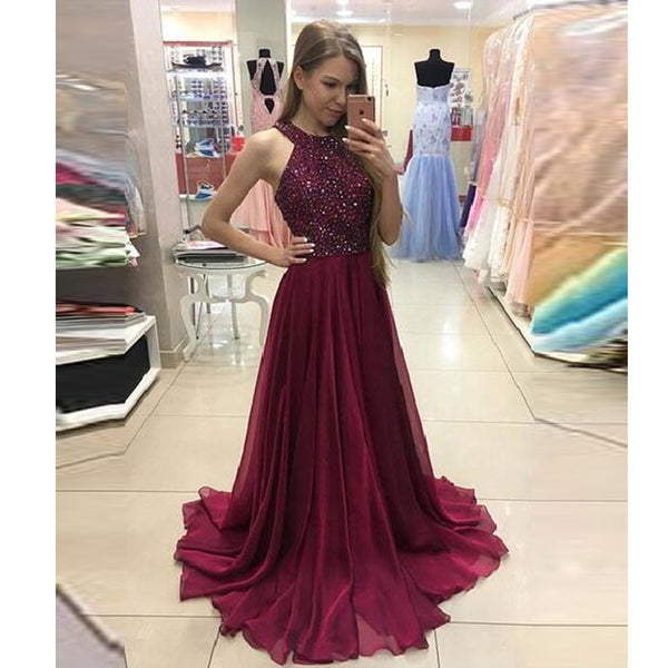 2017 Beaded Burgundy Prom Dress, Jewel Neck Chiffon Evening Gown