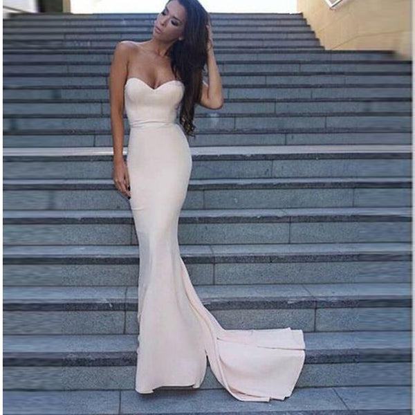 Light Pink Sweetheart Prom Gown,Mermaid Satin Homecoming Dress