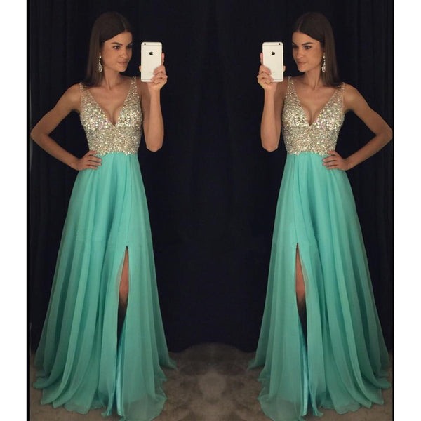 Beaded Mint V Neck Sleeveless Prom Dress, Backless Long Formal Gown Slit
