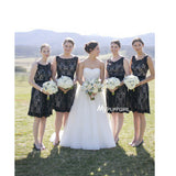 Black Lace Knee Length Bridesmaid Dress With Keyhole Open Back
