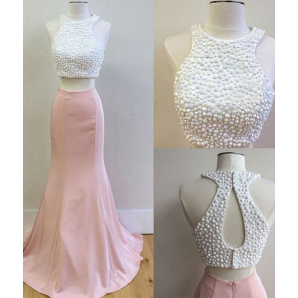 White / Pink Two Piece Prom Dress, Keyhole Back Formal Gown With Pearls