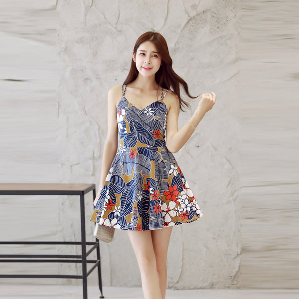 Sweetheart Print Floral A Line Short Dress With Spaghetti Straps