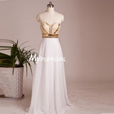 White Sweetheart Chiffon Long Prom Dress With Beading And Gold Sequins