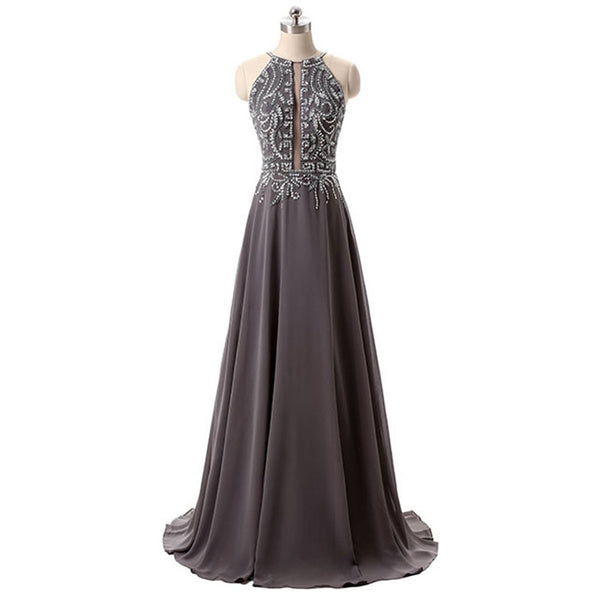 Beaded Grey Halter Prom Dress , Backless Chiffon Long Party Dress