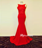 Red Jersey Backless Mermaid Prom Dress With Lace Appliques