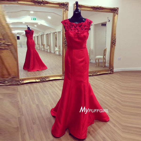 Red Cap Sleeve Satin Sheath Prom Dress, Formal Gown Lace Appliques
