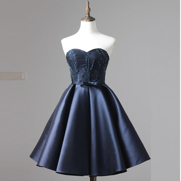 Navy Blue Sweetheart Short Party Dress , Cocktail Dress With Beading Top