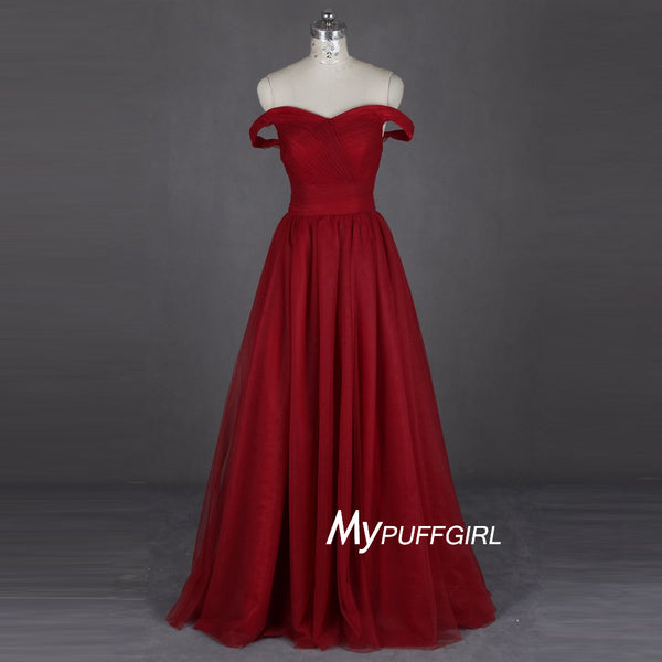 Wine Red Off The Shoulder Prom Dress ,Formal Gown With Ruched Bodice