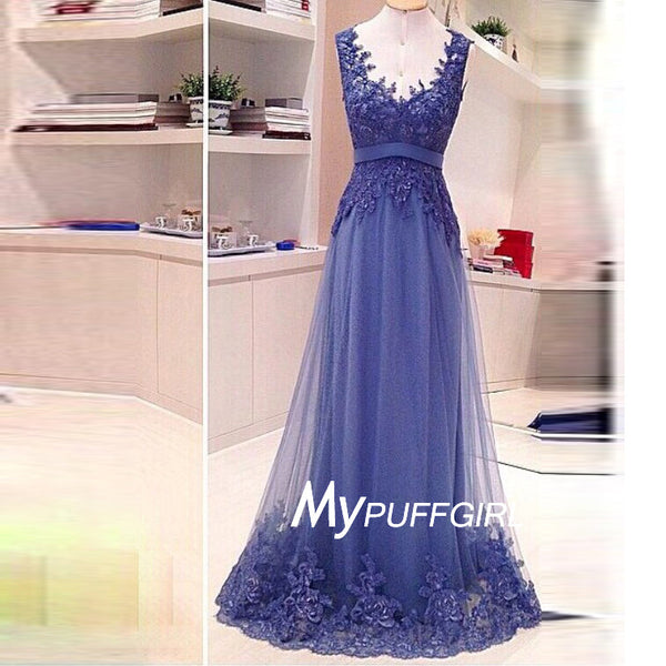 A Line Tulle Open Back V Neck Formal Prom Gown With Lace Appliques