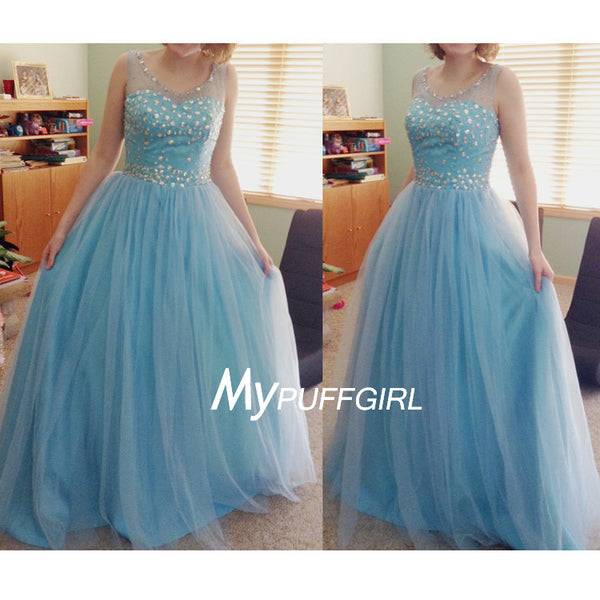 Light Blue Illusion Bateau Tulle A Line Prom Dress With Crystals