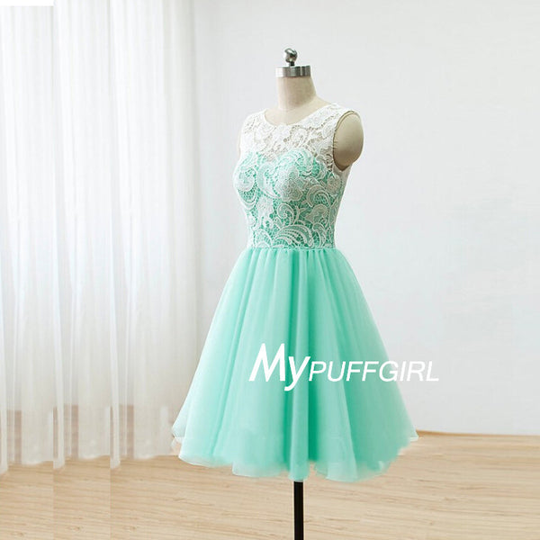 Mint Tulle Lace Bodice Cocktail Party Dress With Covered Button