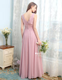 Dusty Rose V-Neck Long Bridesmaid Dresses With Pleats, Floor Length Prom Formal Gowns With Button Back