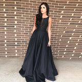 2019 Gorgeous Plunging Formal Evening Gown Black A Line Prom Dress Floor Length