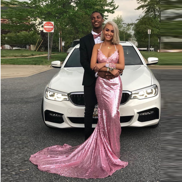 2019 Hot Sale Sequin Prom Dress Pink Mermaid Open Back Formal Evening Gown Spaghetti Straps