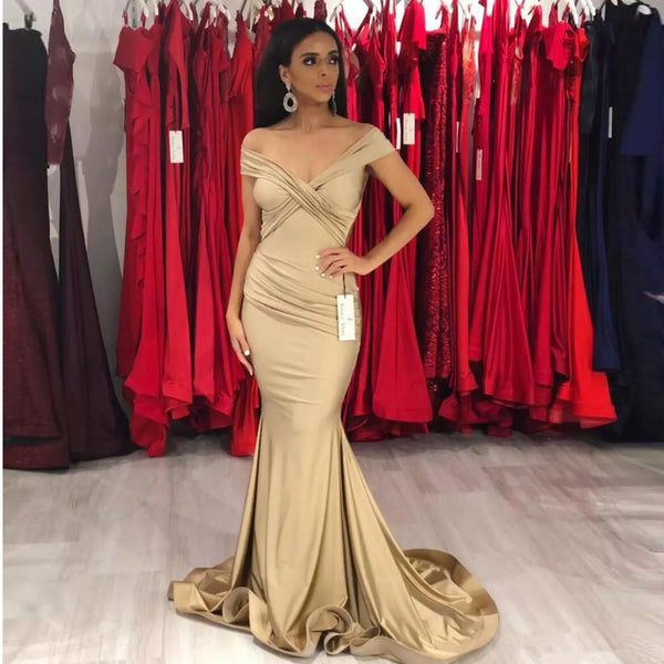 2019 New Arrival Prom Dress Off The Shoulder Mermaid Formal Evening Gown With Draped Bodice