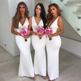 2019 Sexy Deep V Neck Sleeveless Bridesmaid Dress Fitted Wedding Guest Dress White