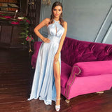 2019 Sexy Halter Formal Gown For Graduation Silver Wedding Guest Dress High Slit