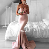 Sweetheart Lace-Bodice Mermaid Dusty Pink Long Evening Prom Dress With Sweep Train