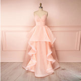 2020 Blush Pink Prom Dress For Junior V Neck Formal Evening Dress Organza Ball Gown Layered Skirt