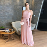 2020 Bridesmaid Dress Chiffon Halter Floor Length Wedding Party Dress Blush Pink Halter Pleated Skirt