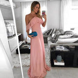 2020 Elegant Bridesmaid Dress Halter Blush Pink Floor Length Wedding Party Dress Chiffon
