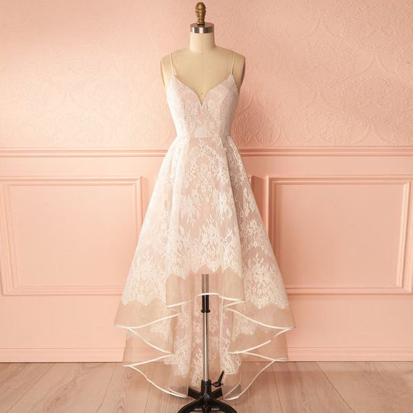 2020 Elegant Bridesmaid Dress Lace Wedding Party Dress High Low Skirt V Neck Spaghetti Straps
