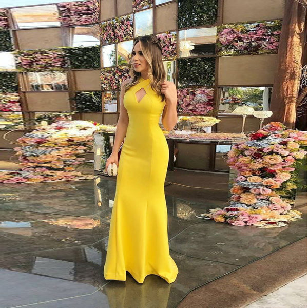 2020 Halter Prom Dress Long Formal Evening Gown Mermaid Open Back Yellow