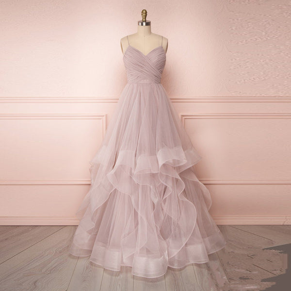 2020 New Arrival Prom Dress For Girl V Neck Rose Pink Formal Gown With Ruched Bodice Layered Tulle Skirt