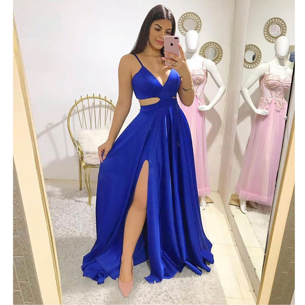 2020 V Neck Prom Dress Long Formal Gown For Women Evening Royal Blue Cut Out Waist