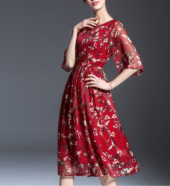 Red Print Floral Chiffon Midi Dress With 3/4 Sleeves