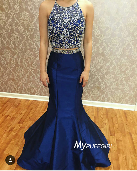 Royal Blue Two Piece Halter Mermaid Prom Dress With Beaded Crop Top