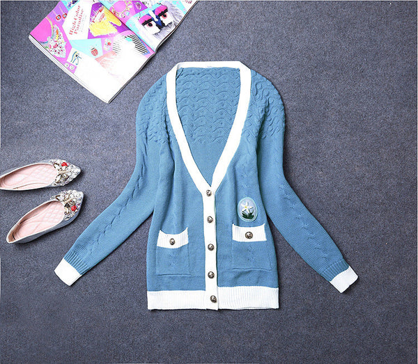 Light Blue Medium Style Knitted Cardigan Sweater For Women