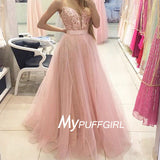 Pink Plunging Sweetheart Tulle A Line Prom Gown With Lace Appliques Bodice
