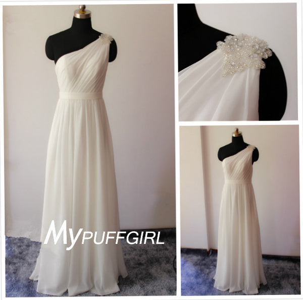 Ivory One Shoulder Floor Length Chiffon Bridesmaid Dress With Pearls