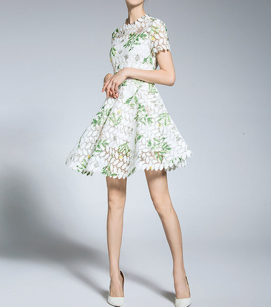 High Neck Short Sleeves Lace A Line Short Dress With Print