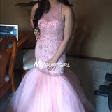 Beaded Pink Sleeveless Mermaid Prom Dress With Keyhole Back